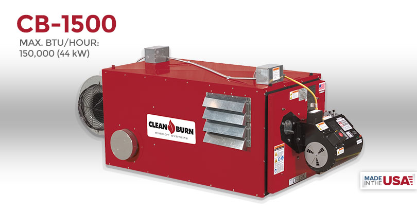 cb 1500 clean burn® waste oil heater, waste oil furnace