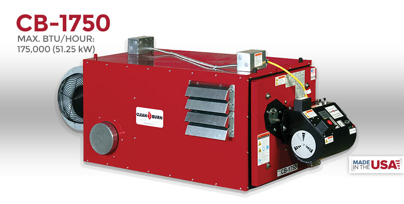 cb 1750 clean burn® waste oil heater, waste oil furnace